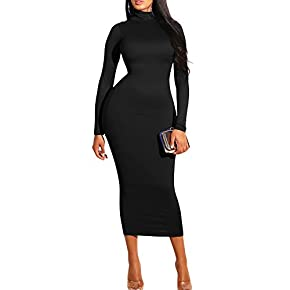 GOBLES Women's Sexy Turtleneck Long Sleeve Elegant Bodycon Party Long Dress