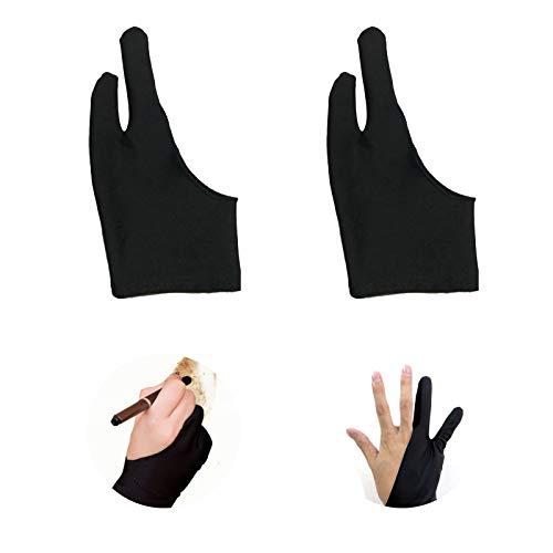 RICISUNG 2本指 グローブ 防汚 絵描き手袋 二本指 誤作動防止グローブ 液晶タブレット グローブ 左利き右利き両用ペンタブレットの使用に最適 通気性 超軽量 快適 2枚入 黒 19*8.5cm