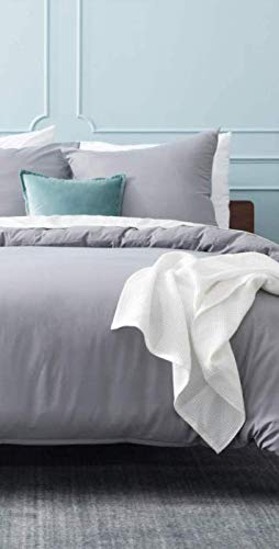 Bedsure Bettwäsche 155x220 grau Mikrofaser- Bettbezug 155 x 220 cm 3 teilig mit Doppelpack 80x80 cm Kissenbezüge für Doppelbett weich und bügelfrei