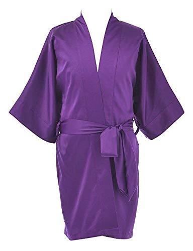 Remedios Kimono para mujer personalizado para dama de honor/chica portadora de flores/madre de la novia y para conjuntos de boda Morado Berenjena(niña de la flor) M