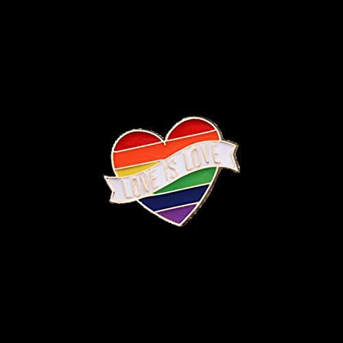 Piner Rainbow hart Pin Gay lesbische glazuur Pins liefde is gelijk Revers knop Badge broches accessoires voor mannen vrouwen Unisex, hart 1