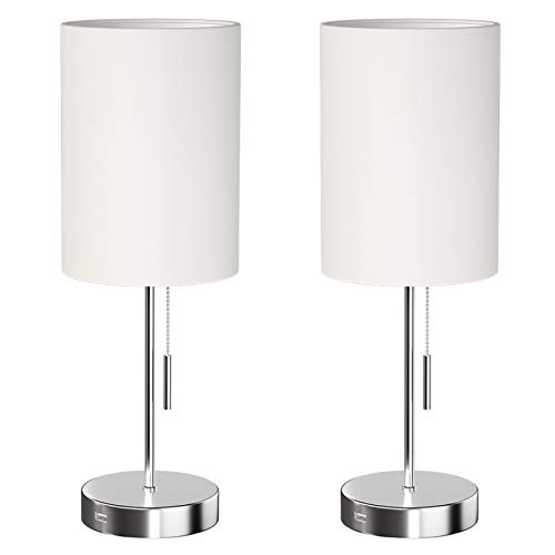DEEPLITE Small Table Lamp, Bedside Lamp with USB Port, Simple Designed Modern Lamps for Bedrooms Living Room Office Nightstand Side/End Table, Brushed Nickel Metal Base, White Lampshade (Set of 2)