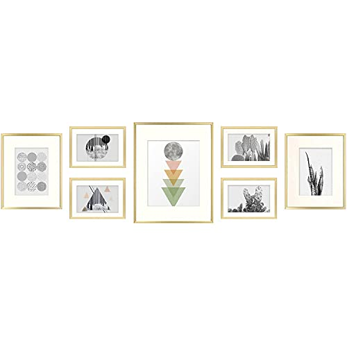 Golden State Art, 7 Pack Frames for One 11x14, Two 8x10, and Four 5x7 inch Pictures. Aluminum Photos Frame for Wall or Tabletop Display (Aluminum Style 2, Gold)