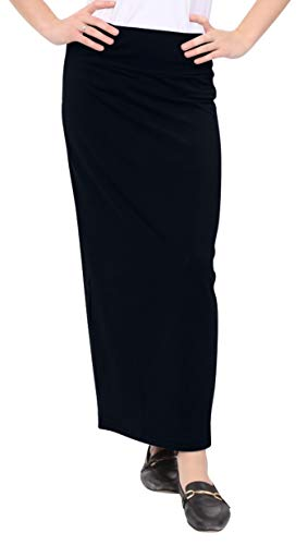 Kosher Casual Women's Modest Cotton Stretch Long Maxi Pencil Skirt Medium Black
