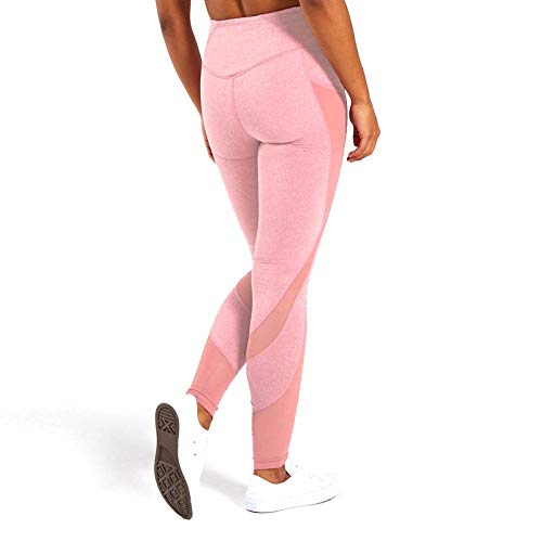Nahtlose Leggings Mit Hoher Taille Für Frauen Aushöhlen Fitness-Legging Super Dehnbare Yo Ga Hosen Fitness-Sport-Jogginghose M Pink