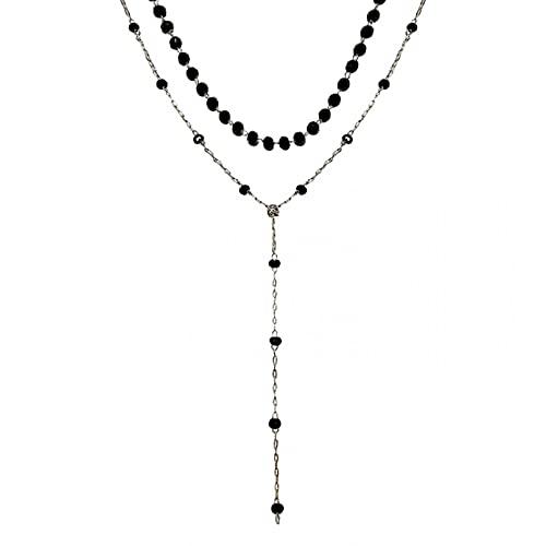 N/A Collar Collar De Doble Capa De Cristal Negro Temperamento Ins Nicho Cadena De Clavícula Collar De Viento Frío Regalo Parejas Y Amigos