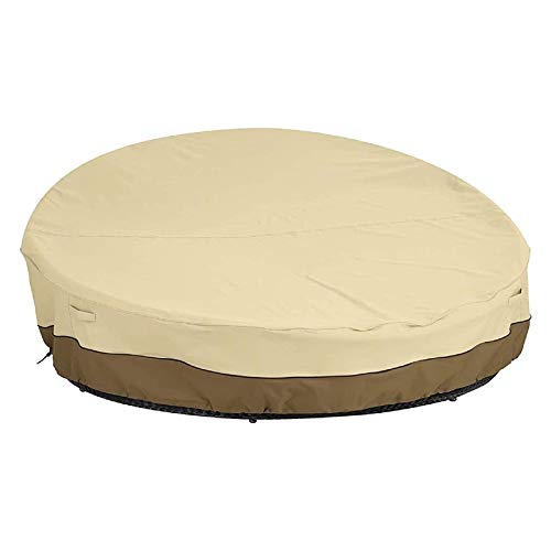 Eurobuy Waterproof Daybed Cover Round Canopy Sofa Cover Outdoor Garden Furniture Cover for Round Outdoor Daybeds