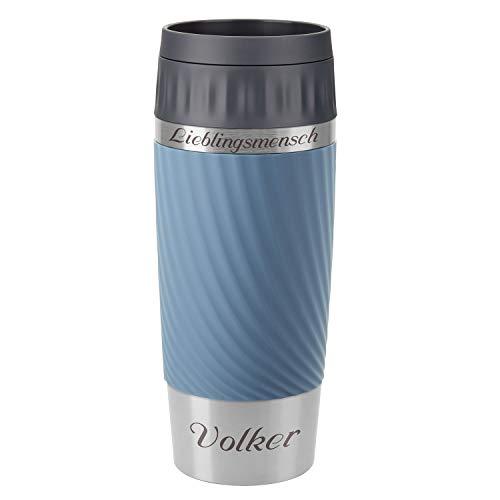 Emsa Thermobecher Travel Mug Easy Twist Aqua-Blau 360 ml mit Rund-Gravur gelasert Edelstahl Soft-Touch-Manschette mit Komfort-Drehverschluss