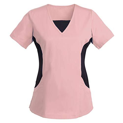 Damen Pflege T-Shirts Bunt & Einfarbig Kasack mit Tier Motiv gedruckt Krankenhauskleidung V-Ausschnitt Schlupfkasack Casual Kurzarm Arbeitskleidung Doppelt Taschen Krankenpfleger Nurse Uniformen