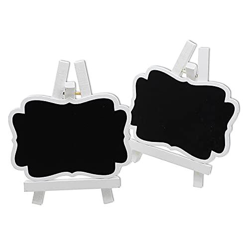 Dysetcs Paquete de 10 mini pizarras reutilizables de madera rectangular marco blanco pizarras con soporte caballetes pequeños pizarras para tarjetas de lugar, bodas, buffet fiesta