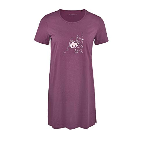 Schiesser Damen Sleepshirt 1/2 Arm, 85Cm Nachthemd, Rot (Beere 512), 40 (Herstellergröße:040)