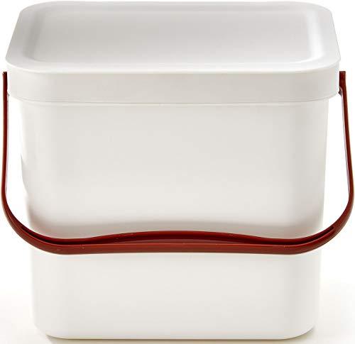 7 Liter Küchen Bio Mülleimer mit Deckel & geruchsdichter Komposter Eimer aus Kunststoff   robuster Biomülleimer geruchsdicht & Stabiler Bio Komposteimer mit Deckel   Abfalleimer mit Deckel in Weiß