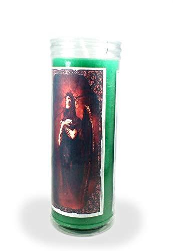 Velón esotérico Santa Muerte Verde- Tamaño 14 x 5,5 cm- Vela para Que se Haga Justicia