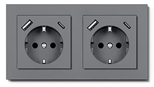 RAVPHICS Enchufe doble con 2 puertos USB y 2 puertos tipo C Max 3,4 A, USB Schuko, enchufe de pared compatible con caja de 2 enchufes estándar, gris puro, para iPhone, Huawei, Galaxy, tableta, etc.