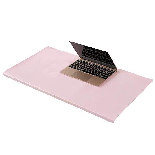 Almohadilla de escritorio de piel de lujo con perfil frontal en forma de L, alfombrilla de ratón grande con protector de bordes, alfombrilla de escritura suave impermeable, color rosa 60X40cm