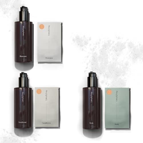 LEVY & FREY® Shower Starterset (Mixed)   Duschgel, Shampoo & Conditioner   Mit 3 Mehrwegflaschen (à 250ml)   Nachhaltige Körperpflege aus Pulver