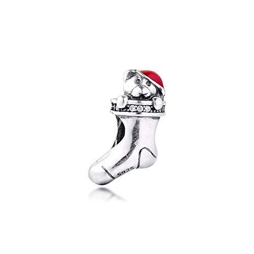 LIIHVYI Pandora Charms para Mujeres Cuentas Plata De Ley 925 Calcetín De Navidad Oso Rojo Claro Marca Joyas Mujer Regalos Compatible con Pulseras Europeos Collars