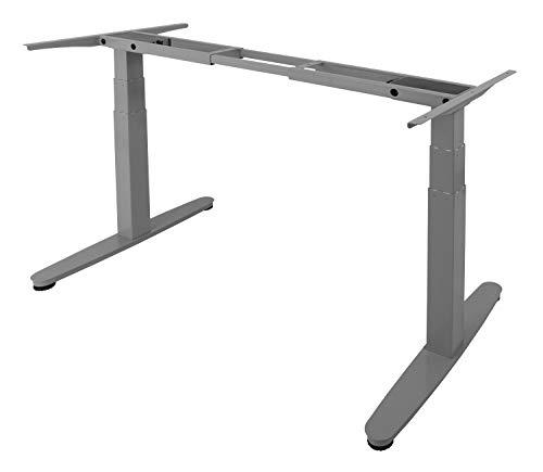 Exeta ergoSMART Elektrisch höhenverstellbarer Schreibtisch -System TÜV Rheinland Zertifiziert- mit 2 Motoren, 3-Fach-Teleskop, Memory-Funkt. und Softstart/-stopp, höhenverstellbares Tischgestell grau