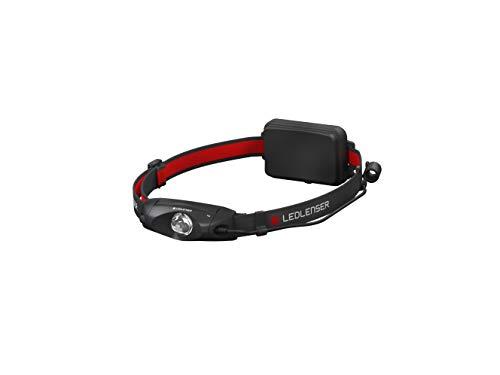 Ledlenser - Lampada da testa con ampio cono luminoso e luce posteriore rossa