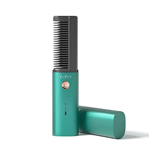 Spazzola Lisciante per Capelli Senza Fili con Batteria da 2600 mAh Piastra Lisciante Mini Tecnologia Ceramica MCH Funzione Anti-scottatura Denti Placcati in Metallo di Spegnimento Automatico Verde