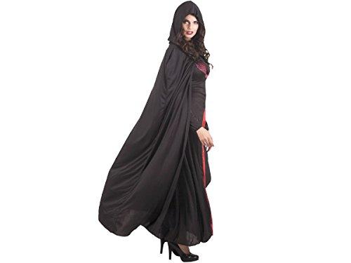 Cape de Vampire ou sorcière Noir avec capuche pour adulte - Halloween (96936) Taille Unique pour adultes ou ados à partir d'une taille de 160 cm. Déguisement pour soirées vénitienne
