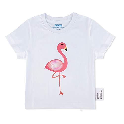AMZTM Mädchen Flamingo Sommer T-Shirt – Girls Kurzen Ärmeln Weiß 100% Baumwolle Elastische Print Tops mit Rundhalsausschnitt Blusen für Kinder(2-3Jahre -100)