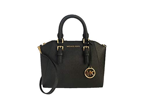 """Saffiano leather with silver tone hardware. Approximate measurement: 15""""(L) 10.5"""" (H) 5.5"""" (D); Double handle drops 4"""". Interior:4 slide pockets and 1 zipper pocket; Exterior: 1 small open slip pocket at the back. Detachable Adjustable Leather Strap ..."""