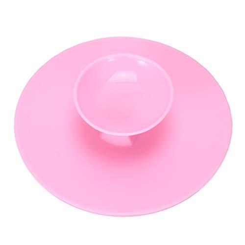 Minkissy brosse de nettoyage en silicone silicone ronde brosse de nettoyage tapis de récurage nettoyant cosmétique pad outil de lavage portable avec ventouse (rose)