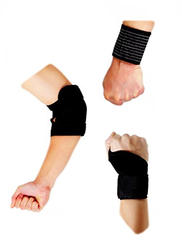 1 Elastic Striped Wrist Strap, 1 Thumb Assisted Wrist Strap and 1 Elbow Brace Strap (ST2) for Home, Gym, Fitness, Sports, and Weight Lifting