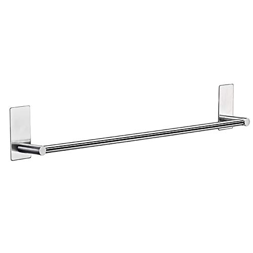 TreeLeaff Toallero de barras, montado en la pared, sin perforaciones, de acero inoxidable, un solo polo, organizador de almacenamiento de baño resistente, kit de accesorios de baño