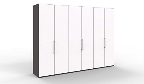 WIEMANN Loft Kleiderschrank, Schlafzimmerschrank, Gleittürenschrank, Drehtürenschrank, in weiß, Havanna, B/H/T 300 x 236 x 58 cm