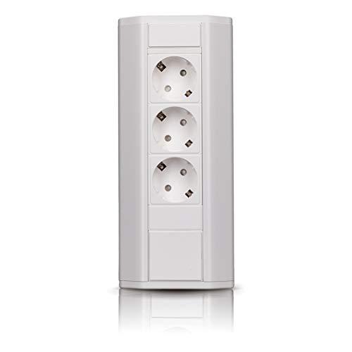 Regleta de esquina para cocina, oficina, de aluminio con 3 enchufes Schuko, color blanco, con cable de 1,8 m. Regleta ideal para encimeras de trabajo como enchufe de construcción.