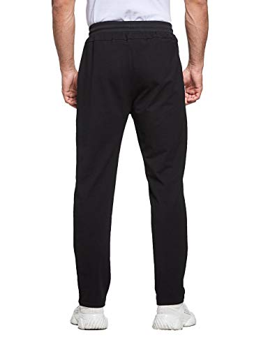 Tansozer Mens Joggers Slim Fit Jogging Bottoms Open Hem Gym Pants Cotton Tracksuit Trousers with Zip Pockets Sports Running Sweatpants (Black, Small)