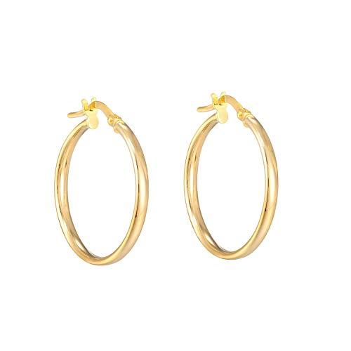 9ct Yellow Gold Simple Hinged Hoop Earrings