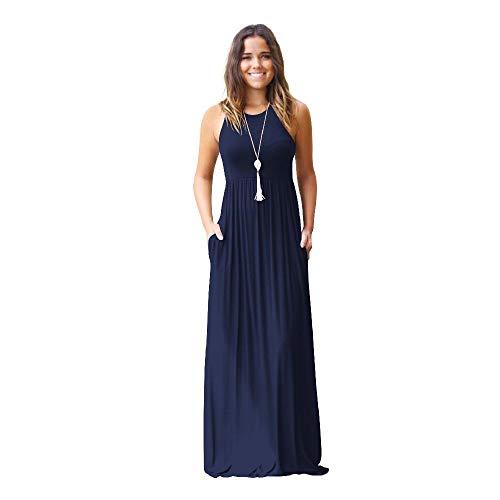2020 European and American Women's Long Dress Spring and Summer Women's Leisure Vest Pocket Dress Fashion Women