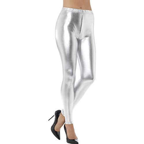 Smiffys Damen 80er Jahre Metallic Disko Leggings, Größe: 36-38, Silber, 48105