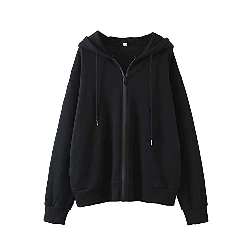 Sudaderas casuales de manga larga con capucha de color sólido con cremallera suelta con cordón y cordón para entrenamiento Streetwear, Negro, M