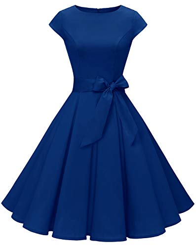 MuaDress 1956 Damen Vintage 1950er Retro Rockabilly Cocktail Prom Kleider Cap-Sleeve Royalblau S
