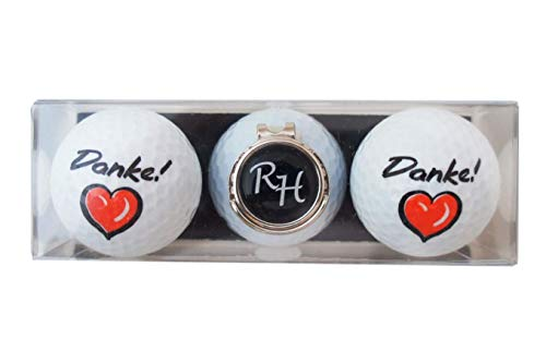 RoLoGOLF Geschenk-Set: 2 Golfbälle mit Danke und Cap-Clip + Marker mit INITIALEN! Witzige Geschenk Idee für jeden Golfer!