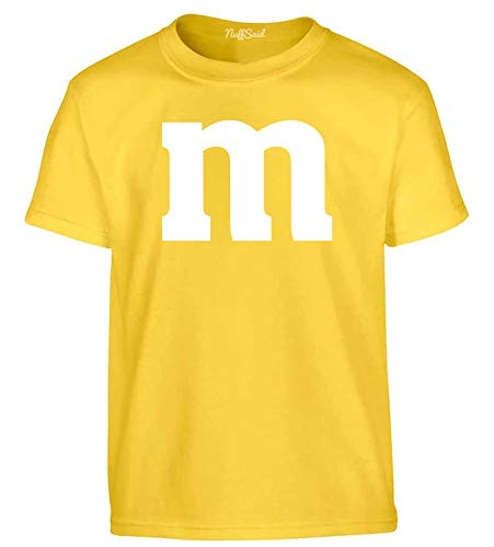 NuffSaid Youth Colorful M Candy Halloween Group Costume T-Shirt - Best Friend's Tee (YM: 10-12, Yellow)