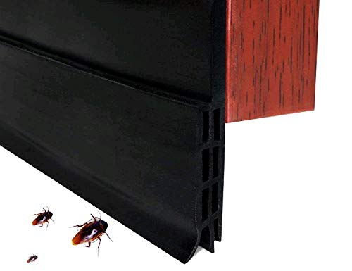 Zengbang Selbstklebende Tür Türdichtung Dichtungsstreifen Zugluftstopper gegen Insekt Ersatzdichtung Wetterfest Blocker Schalldichtung Silikon Türstopper (2M,Schwarz