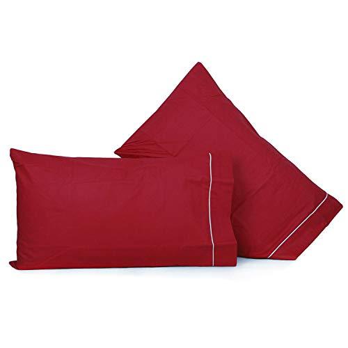 Liabel_ Coppia federe in Cotone Tinta Unita 50x80cm (Rosso)