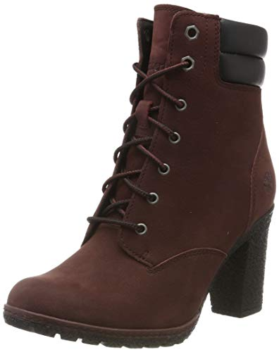 Timberland Damen Tillston 6 Inch Double Collar Stiefel, Rot (Dark Brown Nubuck), 36 EU