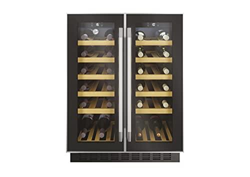 Hoover H-WINE 700 HWCB 60D/1, Vinoteca integrable, 38 botellas, 2 zonas, Anti UV, Filtro carbón, Compresor antivibraciones, Iluminación led, 38dba, 119l, Clase G