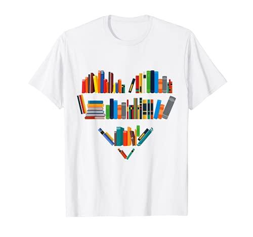 Lindo lectura biblioteca libros amante corazón bibliotecario regalo Camiseta