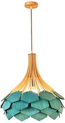 Luces de suspensión, E27 Pantalla de luz Colgante Vintage, Downlight de Madera Acabados Pintados Candelabro de Madera Luz Industrial Lámpara Antigua Luz de Techo Creativa para Loft Comedor Bares