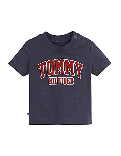 Tommy Hilfiger - Camiseta Azul Logo KN0KN01272 C87 - Camiseta Manga Corta Azul bebé niño