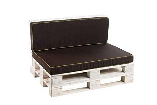 Palettenkissen Sitzkissen, Rückenkissen Schaumkissen glatt PFK (Eckkissen 60x40, Braun)