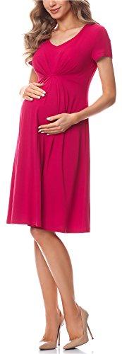 Be Mammy Vestido de Cóctel Premamá Embarazo Ropa Verano BE20-217 (Rosa Frambuesa, S)