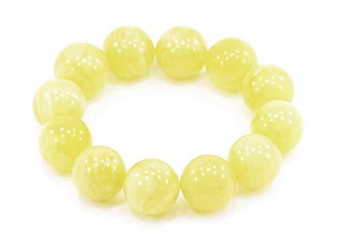 Armband aus echtem baltischen milchigen Bernstein, Perlen aus weißem Bernstein